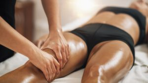 Anti Cellulite Thigh Massage in a Beauty Spa Salon.