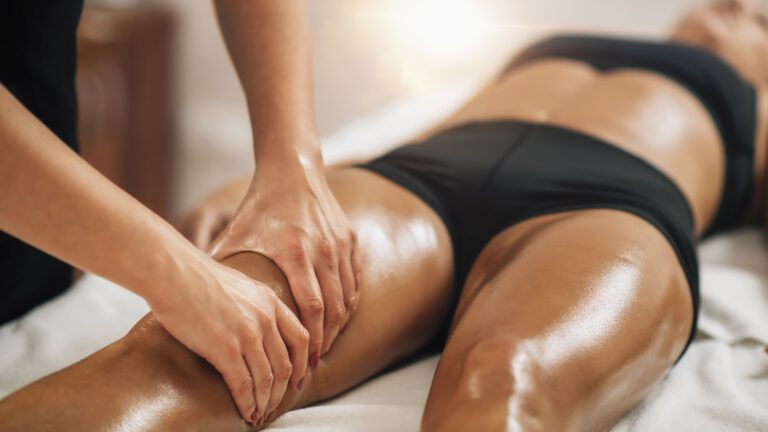 Anti Cellulite Thigh Massage in a Beauty Spa Salon.
