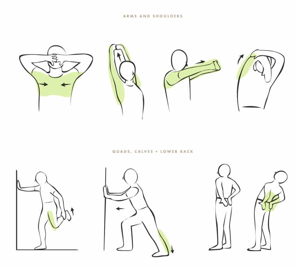 Vor dem Golfspiel Schultern, Arme, Bein und Rücken dehnen und aufwärmen